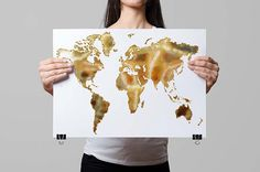 Gold Foil World Map PRINTABLE, Instant Download World Map, Gold White Wall Art, Modern Home Office Decor, Gold White Wall Art, Minimalist by ModernPrintableArt on Etsy https://www.etsy.com/listing/191677485/gold-foil-world-map-printable-instant