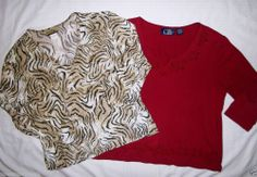 Creative Design Works CDW 3/4 Sleeve Knit Top L Animal Print Made in USA + BONUS