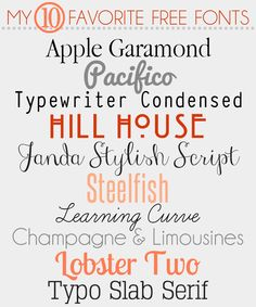 My 10 Favorite Free Fonts