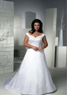 Off the Shoulder Chapel Train Satin Plus Size Wedding Dress by cookshengtong