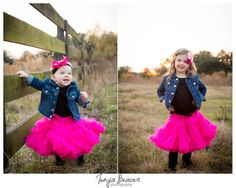 Matching sister outlets with pink tutus, jean jackets, and black leggings  Live Oak family photos - Live Oak Photographer - Jacksonville Photographer - Tonya Beaver Photography