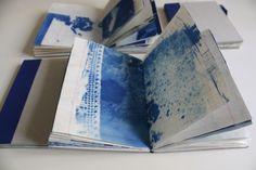 Inês Almeida Lisboa, Portugal Artist's Book with cyanotype on Behance Artist Journal, Book Journal, Art Journals, Collages, Sun Prints, Book Art, Artist's Book, Cyanotype, Collagraph