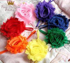 Rainbow+Bright+Rainbow+Headband+Set+Shabby+Chic+by+PixiePrincessB,+$1.75