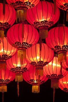 Chinese Lanterns that are hung at Chinese New Year are thought to scare away the evil spirits and bring good luck for the coming year.
