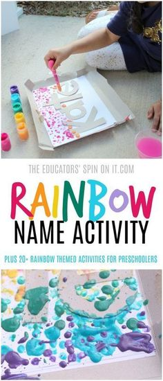 Create your own rainbow with this fun and colorful Drip Painting Rainbow Name Activity. Your preschooler will learn to identify the letters of their name and create a colorful art project with rainbow. Plus additional rainbow themed activities include for you. #rainbow #rainbowtheme #preschool #eduspin #vbcforkids #nameactivity
