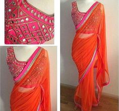 Looking for latest blouse designs 2018 collections? Let's have a look at simple blouse design trends for 2019 & blouse designs images are available. Sari Blouse, Mirror Work Saree Blouse, Mirror Work Blouse Design, Saree Dress, Mirror Saree, Mirror Work Kurti, Dress Skirt, Simple Sarees, Trendy Sarees