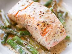 salmon and asparagus in mustard sauce