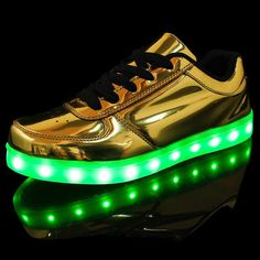 68d01800583 Merkmak Gold Silver Fashion LED Light up Lumineus Flats Men Shoes Unisex Dance  Footwear 8 Colors Dazzling Glowing Shoes Dropping