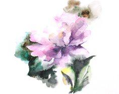 Original peinture aquarelle de pivoine, fleur peinture, aquarelle Art, d'art Floral rose violet aquarelle