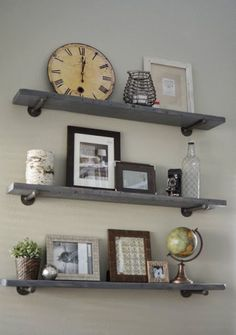 Loving What We Live: Photo Wall Display on DIY Restoration Hardware Shelves