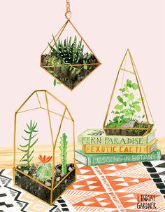 """Rare Specimen"" Terrarium painting in watercolor: Lindsay Gardner Art & Illustration. www.lindsaygardneart.com"