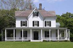 Farmhouse With Wrap Around Porch | ... Country porches, Wrap around porches, Wraparound porches - farmhouse