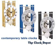 Hermle Mikal Keywound Table Clock Puristic design table clock with eloxed aluminum pillars and a German skeleton movement. Mantel Clocks, Roman Numerals, Metal, Table, Design, Metals, Tables, Desk