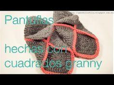 Pantuflas hechas con granny
