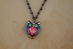 """ORIGINAL Hand Painted """"Jonny Owl""""  Pendant with Rosary Style Beaded Necklace by Artist Kerry C. Love Owls! by sugarskullshoppe on Etsy"""