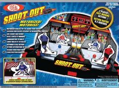 Motorized Shoot Out Hockey by Ideal. Save 20 Off!. $20.00. From the Manufacturer                Challenge your friends in this USA vs. Canada shoot out! The motorized goalies will try to block your shots so watch your aim! Talley up the number of times you score before the buzzer sounds. Have the highest goals and win!                                    Product Description                37100 Features: -Motorized shoot out hockey.-Challenge your friends in this USA vs. Canada shoot...