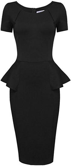 Tom's Ware Women Short Sleeve Zip up Peplum Midi Dress TWLC6156-BLACK-US L at Amazon Women's Clothing store: Miss Louisiana, Peplum Midi Dress, Thing 1, Zip Ups, Sleeves, Stuff To Buy, Clothes, Amazon, Store