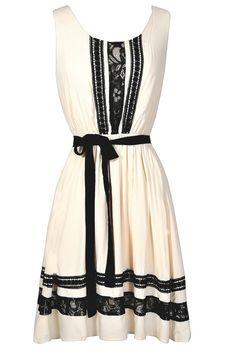 Amelie Crochet Lace Trim Black and Ivory Dress  www.lilyboutique.com