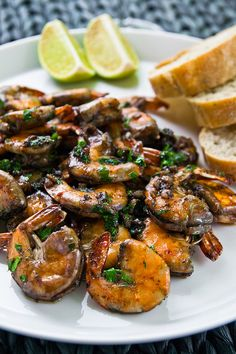 Prawns in red wine with garlic and parsley