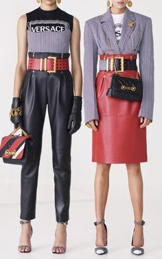 High Waisted Leather Pant by VERSACE for Preorder on Moda Operandi