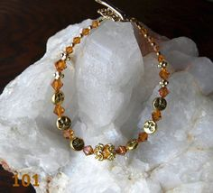 Swarovski crystal and gold moon bracelet by Krystalins on Etsy, $32.00
