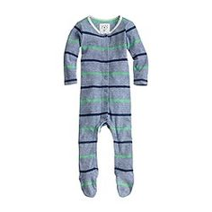Baby footsie coverall in double stripe