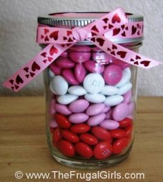 Cute valentines treat- would be a great way to use baby food jars.