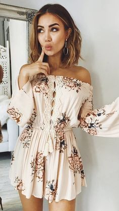 #winter #outfits  white and brown floral off-shoulder long-sleeve a-line mini dress