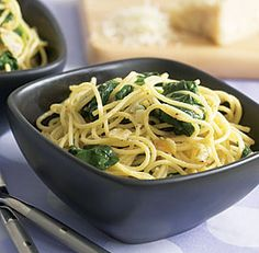 spaghetti with garlic and spinach-**DONE: really easy and really good**