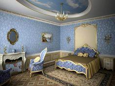 chambre style baroque, papiers peints bleus et mobilier assorti Baroque Bedroom, Deco Baroque, Rose Pastel, Decoration, Toddler Bed, Lounge, Design, Furniture, Style