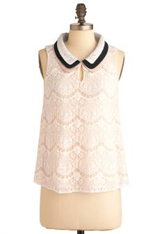 Lace Share Top - Mid-length, White, Blue, Pink, Solid, Lace, Peter Pan Collar, Casual, Sleeveless
