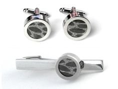 Titan paper cufflinks and tie pin make for a first anniversary gift your husband will love!
