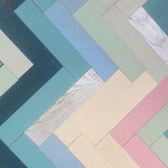 Random coloured parquet flooring.