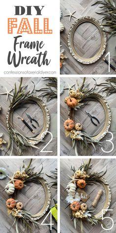 Fall Wreath Tutorial, Diy Fall Wreath, Wreath Crafts, Fall Diy, Fall Garland, Autumn Wreaths, Diy Craft Projects, Craft Ideas, Diy Ideas