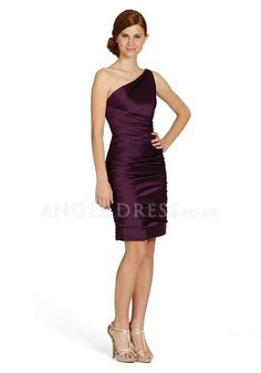 Elastic Silk Like Satin Sheath/ Column Short One Shoulder Natural Waist Bridesmaid Gowns