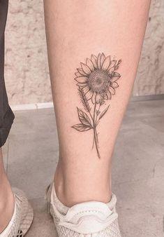35 Fantastic Sunflower Flower Tattoos and Their Meaning - 123 Tattoo . - 35 Fantastic Sunflower Flower Tattoos and Their Meaning – 123 Tattoos - Line Tattoos, Body Art Tattoos, Small Tattoos, Cool Tattoos, Tatoos, Sunflower Flower, Sunflower Tattoos, Sunflower Tattoo Design, Sunflower Tattoo Simple