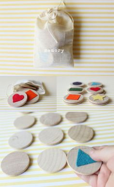 DIY memory - felt or different textural fabrics to make it accessible for low vi. DIY memory - felt or different textural fabrics to make it accessible for low vision Montessori Activities, Infant Activities, Activities For Kids, Diy And Crafts, Crafts For Kids, Operation Christmas Child, Diy Games, Diy Toys, Diy For Kids