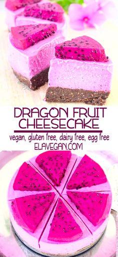 This raw vegan cheesecake recipe is easy to make, it's gluten free, plant-based delicious and pink! This raw vegan cheesecake recipe is easy to make, it's gluten free, plant-based delicious and pink! Raw Vegan Cheesecake, Fruit Cheesecake, Gluten Free Cheesecake, Raw Vegan Desserts, Easy Cheesecake Recipes, Raw Vegan Recipes, Vegan Dessert Recipes, Vegan Treats, Raw Vegan Cake