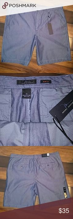 Mens Size 40 Marc Anthony Slim Fit Shorts New with tags. Gray with white pinstripe. Size 40. 100% Cotton. Button And zip fly. Front and back pockets. Retail for $48. Marc Anthony  Shorts Flat Front