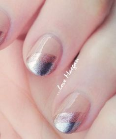 Brides who like a little bit of sparkle, but worry about going overboard will love this design: A diagonal swipe of two different metallics—a bronze and a silver—pop against a pretty nude nail color.
