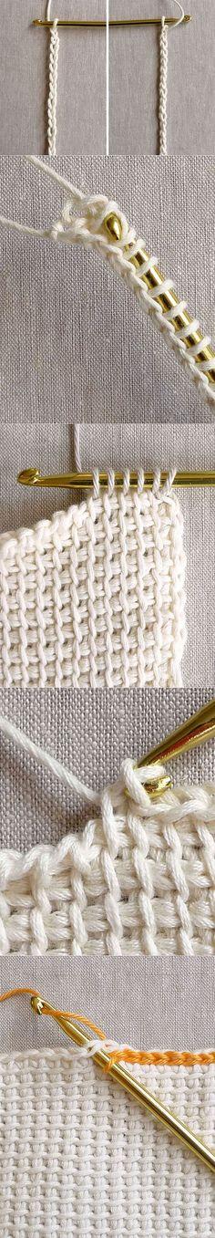 Тунисское вязание крючком.