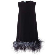 Prada Feather-Trimmed Crêpe Minidress (111.165 RUB) ❤ liked on Polyvore featuring dresses, prada, short dress, black, crepe fabric dress, crepe dress, prada dresses, feather trim dress and short dresses