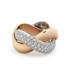 bague de fiançailles pour femme  tresse de Poiray en or rose et or pavé de diamants
