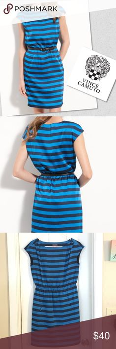 """Bold Striped Dress Sprightly blue stripes freshen up a simple cap-sleeve dress fashioned in a silky, lightweight knit. Slips on over head. Pleated shoulders. Elastic waist. Front welt pockets. Approx. length from shoulder to hem: 36"""". Fully lined. 🔸doesn't come with belt.🔸✅accepting offers 🙅🏾no modeling 🔁no trades Vince Camuto Dresses"""