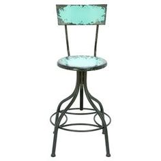 """Adjustable barstool with a distressed finish.  Product: BarstoolConstruction Material: MetalColor: Distressed tealFeatures:  Comfortable foot restDimensions: 26.5"""" H x 18"""" Diameter"""