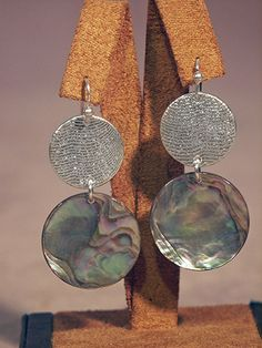 Abalone Shell and Silver Earrings   by Althea Cajero, Santo Domingo and Acoma