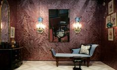 Flowered Damask hand-painted silk wallpaper #degournay