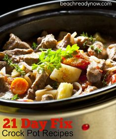 21-Day Fix Crock Pot Recipes If you're participating in our 21-Day Fix Challenge Group, you may be looking for some easy, yet flavorful new recipes. Most clean-eating, healthy crock pot recipes can be adapted to fit the 21-Day Fix. The challenge is knowing how much of each container to count as a portion. The 21-Day … … Continue reading →