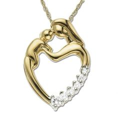 47 best mother and child necklace images on pinterest mother and best cheap xpy yellow gold mother and child heart shaped diamond pendant cttw j color clarity mozeypictures Images