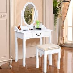 White Vanity Wood Desk Makeup Dressing Table Set w/Stool 1 Drawer&Mirror Jewelry #VanityWoodDesk